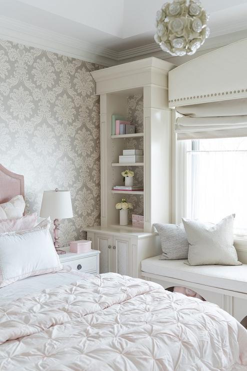 Girl Bedroom Wallpaper Border Blush Pink Velvet Bed With Gray Damask Wallpaper