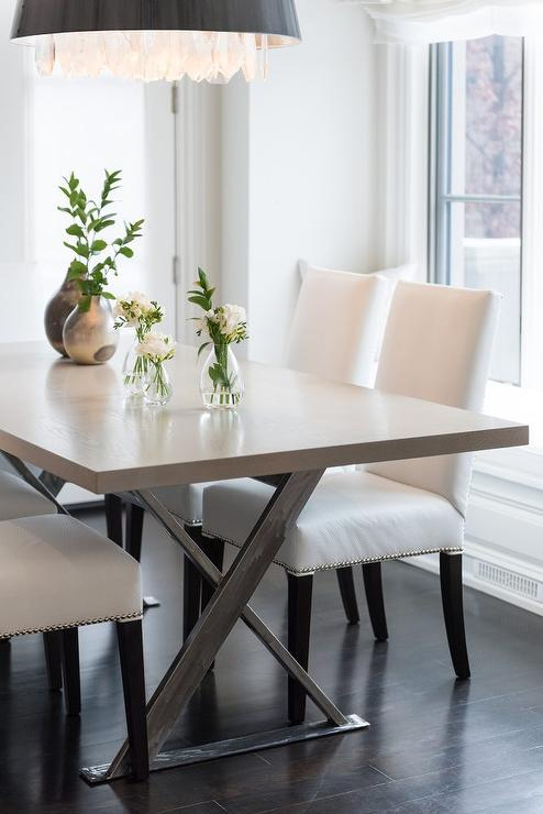 white leather chairs dining kitchen chair pads pottery barn gray x base table with contemporary