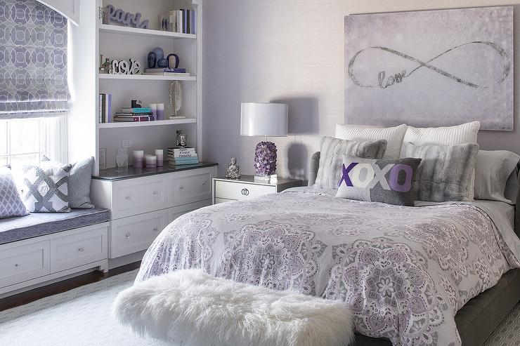 purple and gray girl bedroom