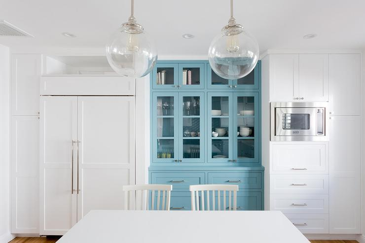 Blue Built In Kitchen China Cabinet Transitional Kitchen
