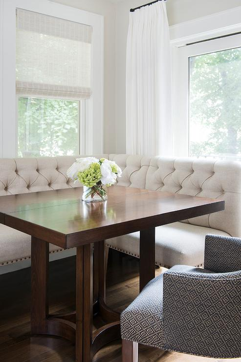 Ivory Linen Tufted Dining Banquette with Square Dining Table  Transitional  Dining Room