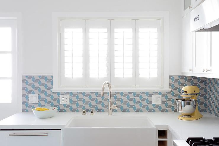 blue geometric tiles with white