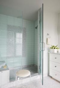 Blue Ombre Ceramic Shower Tiles - Transitional - Bathroom