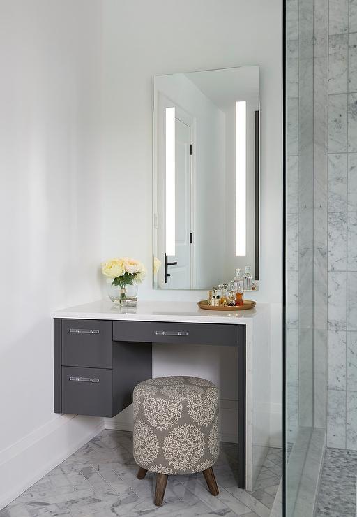 White Makeup Vanity with Gray Waterfall Countertop