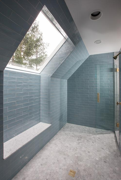 Large Marble Walk In Shower with White Quartz Bench