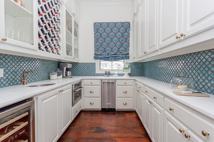 blue arabesque pantry tiles cottage