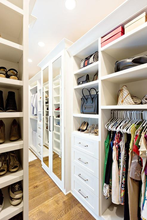 Long and Narrow Walk In Closet with Purse Shelves  Transitional  Closet