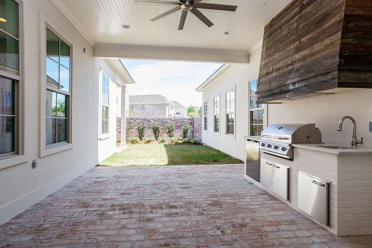 outdoor kitchen hood american standard faucet parts white brick with reclaimed wood vent cottage
