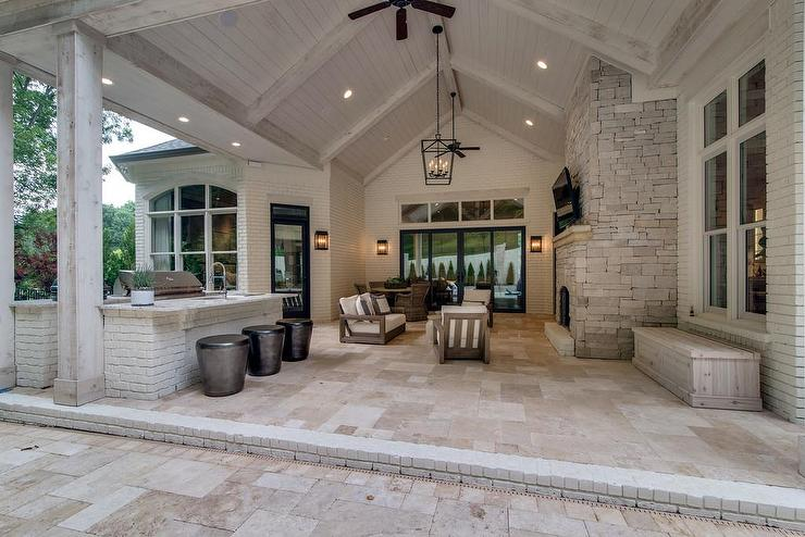 vaulted ceiling on covered patio