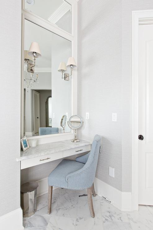 Blue Ruffled Vanity Chair  Transitional  Bathroom