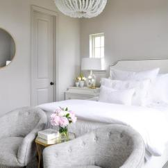 Bedroom Chair With Skirt Woven Outdoor Chairs In Front Of Bed Design Ideas Elegant Gray And White Features Tufted Accent Placed A French On Either Side Bertram 16 Mirrored Table