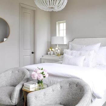 bedroom club chair wicker barrel cushions chairs in front of bed design ideas gray tufted