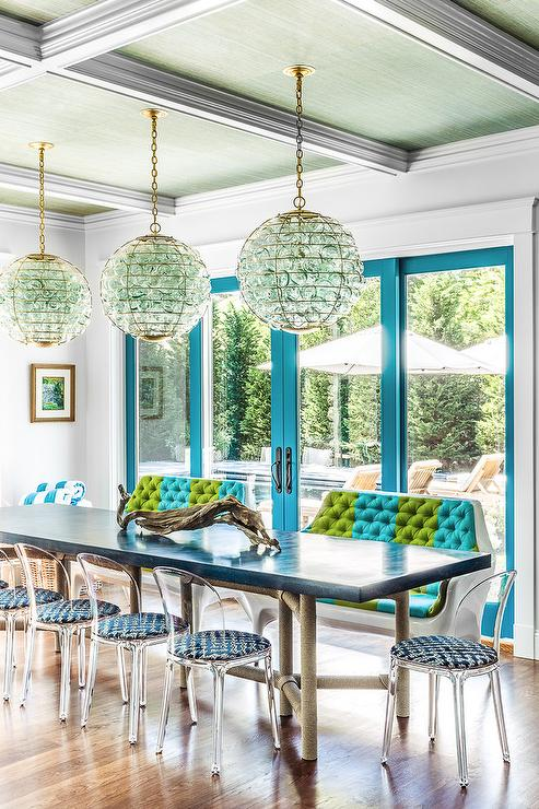 Blue Glass Orb Chandelier with Rope Dining Table  Cottage  Dining Room