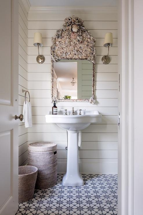 seashell mirror with pedestal sink