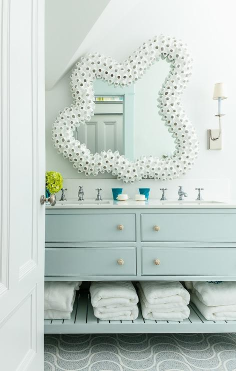 Light Blue Bath Vanity With White Seashell Mirror Cottage Bathroom