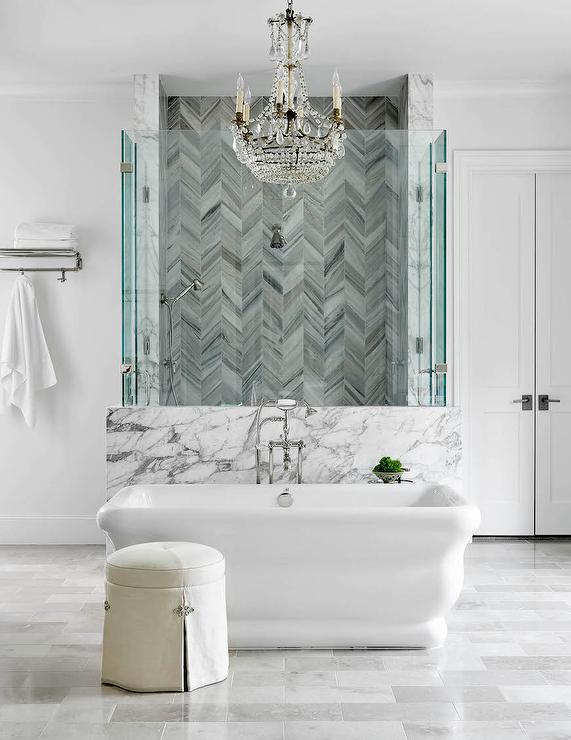 gray marble chevron shower tiles
