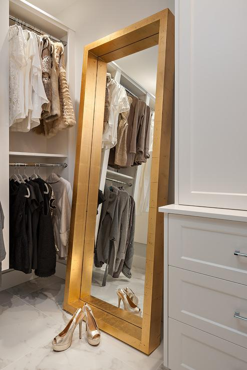 Gold Leaf Floor Mirror  Transitional  Closet