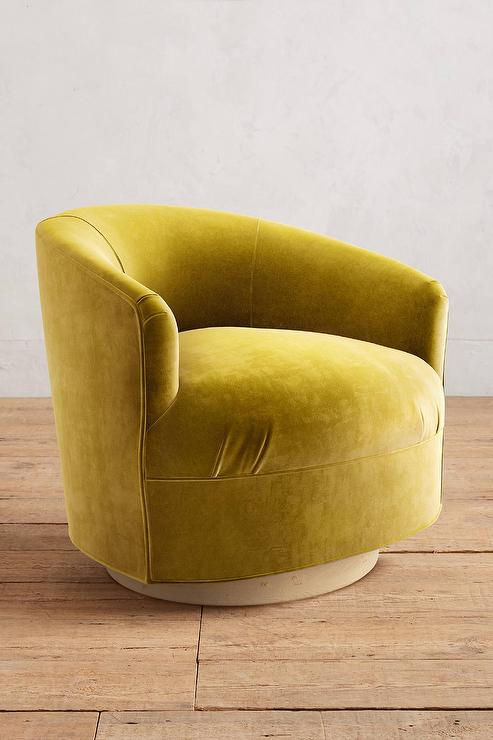 Yellow Velvet Amoret Swivel Chair