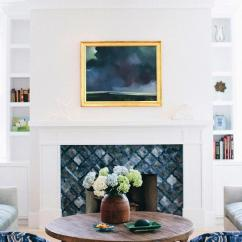 Living Room Mantel Decor Good Green Color For Blue Fireplace Tiles - Transitional Elle