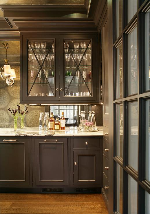 Butler Pantry with Shelves on a Mirrored Backsplash