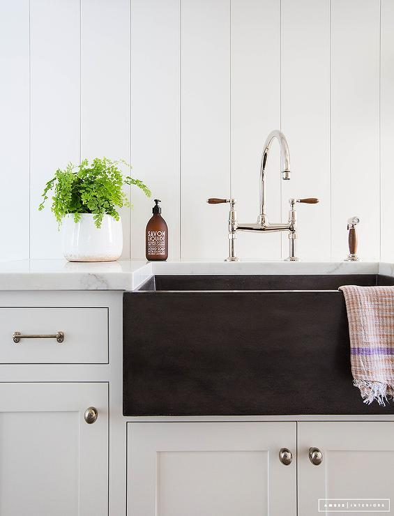 black fireclay apron sink cottage