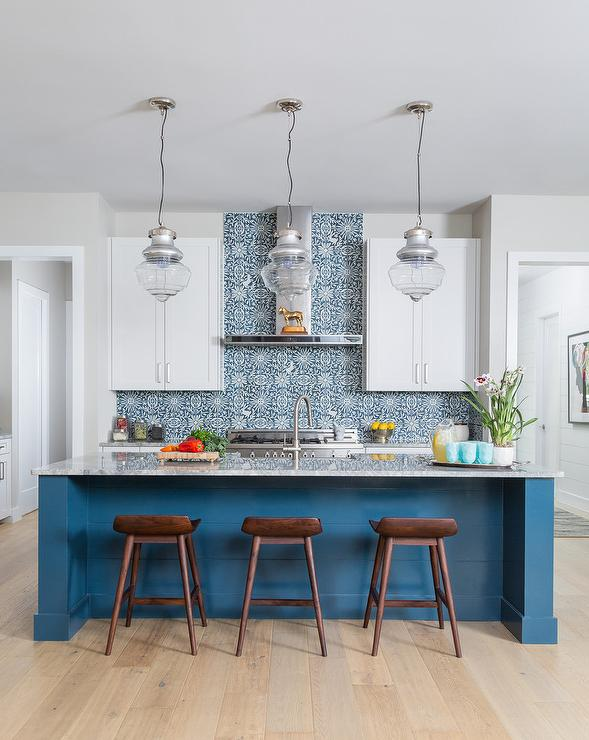 Blue Mosaic Kitchen Tiles with White Cabinets