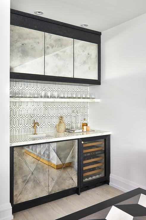 Gold and Black Geometric Tiles  Contemporary  Kitchen