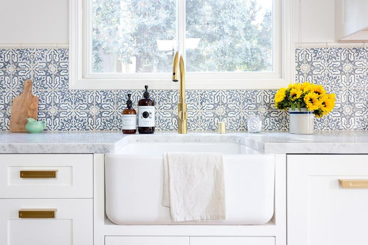 Blue Mosaic Kitchen Wall Tiles Transitional Kitchen