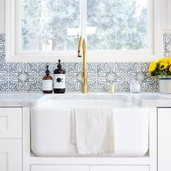 Kitchen Countertop Decor Dish Towels Blue Mosaic Wall Tiles - Transitional