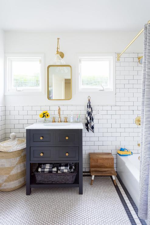 Dark Blue Bath Vanity with Gold Knobs  Transitional