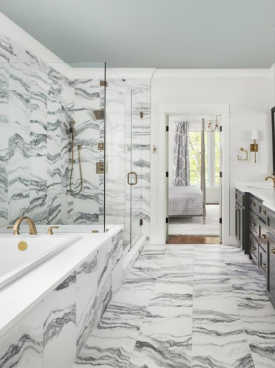 Gray and White Marble Bath Tiles  Transitional  Bathroom