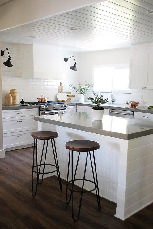 Kitchen Cabinets Hanging From Ceiling Light Grey Shaker Kitchen Cabinets With White Quartz