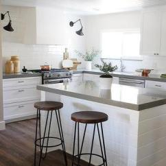 Kitchen Counter Stools Single Hole Faucet With Pull Out Spray Hairpin Design Ideas White Shiplap Island Gray Quartz Countertop