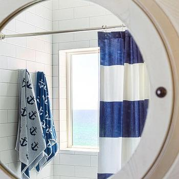 polished nickel tension shower curtain