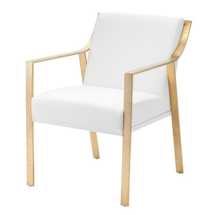 Rouka White Gold Velvet Chair