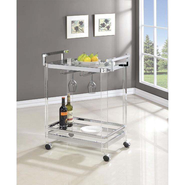 Violet Acrylic Chrome Glass Bar Cart