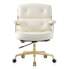 Office Chair Gold Oversized Gravity White Leather Button Tufted