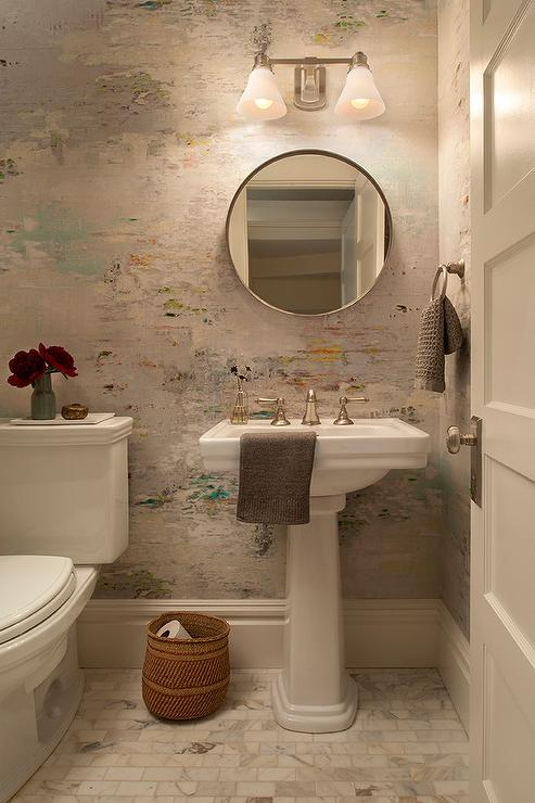 Watercolor Wallpaper in Powder Room  Transitional  Bathroom