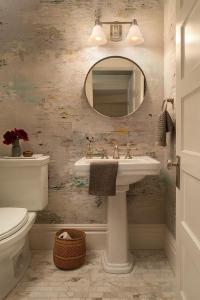 Watercolor Wallpaper in Powder Room - Transitional - Bathroom