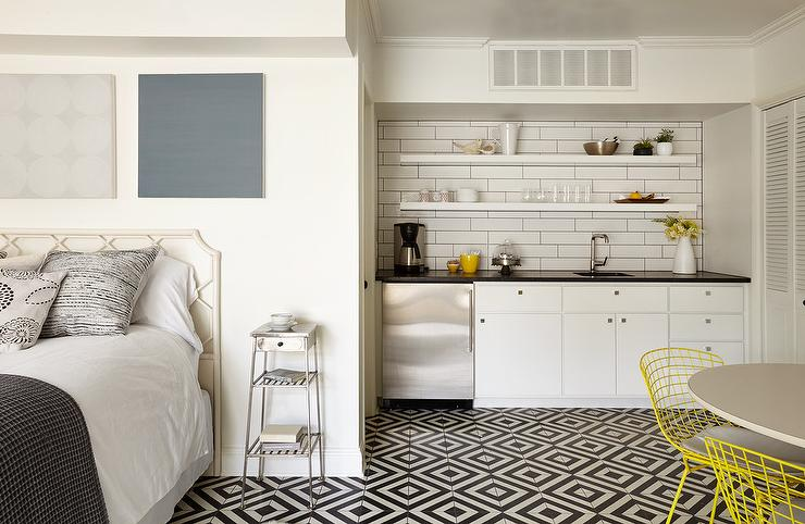 Girl Black And Gray Wallpaper Guest House Kitchenette Transitional Kitchen
