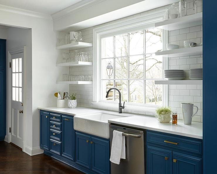 floating kitchen cabinets mats costco stacked black shelves design ideas this transitional blue and white provides a sleek sophisticated alternative for modern homes