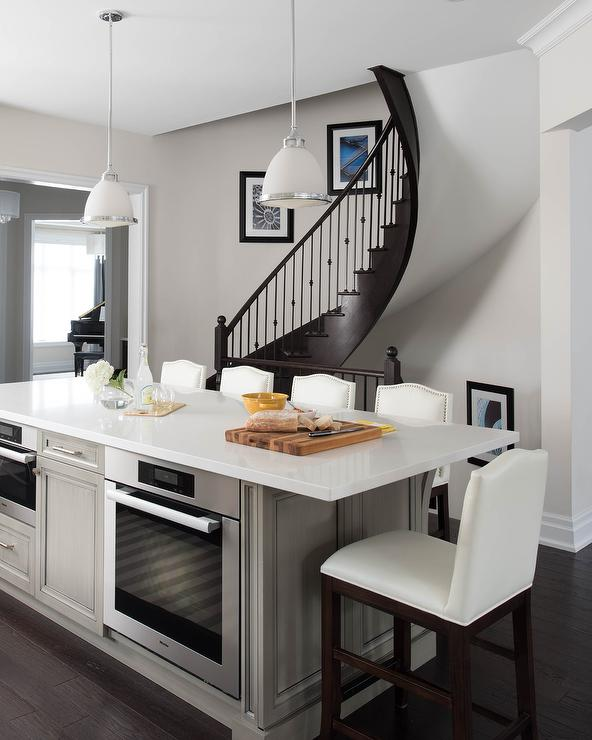kitchen island with stove outdoor designs taupe oven transitional