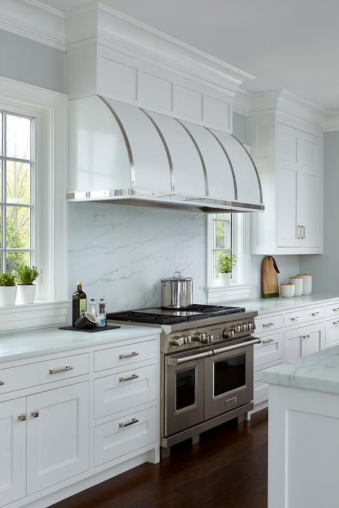 Black Steel kItchen Hood with White Cabinets