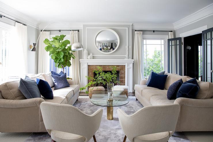 navy sofa beige walls tan covers living room design, decor, photos, pictures, ideas ...