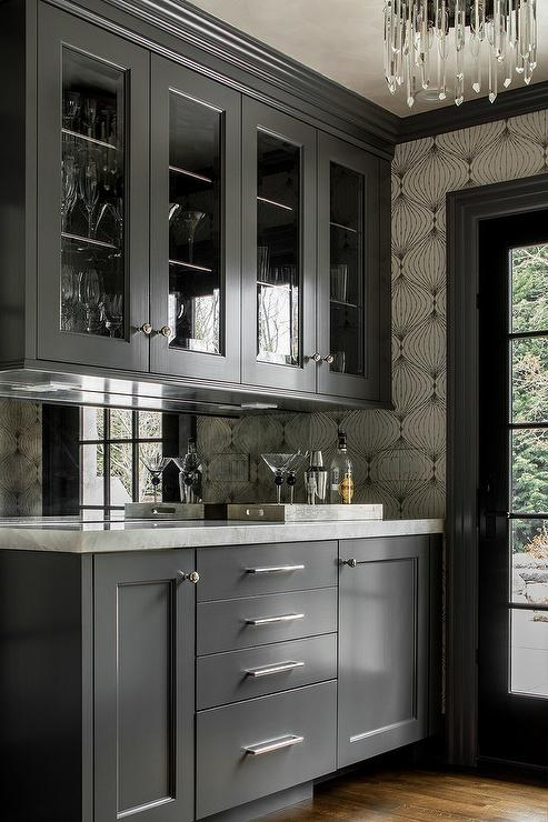 Black Bar Cabinets with Mirrored Backsplash  Contemporary  Kitchen