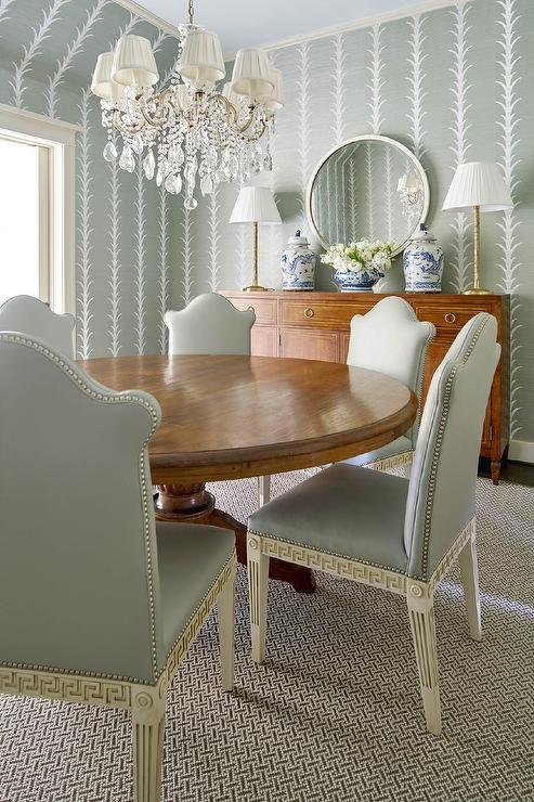 cane back dining room chairs chair for beauty parlour contemporary cottage with blond table and green chevron - ...