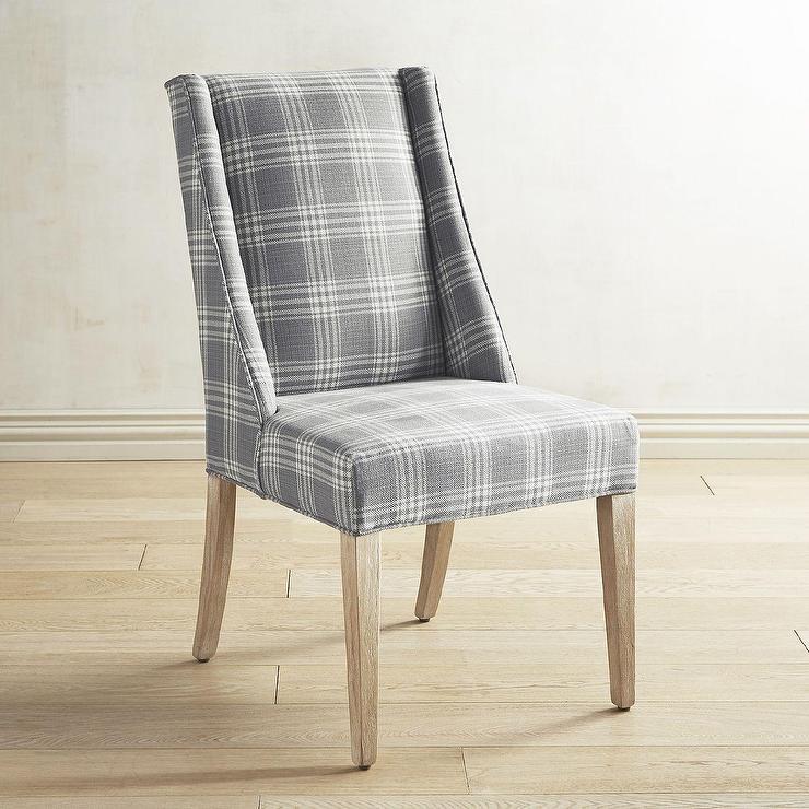 upholstered wingback chair metal legs denim blue paisley dining