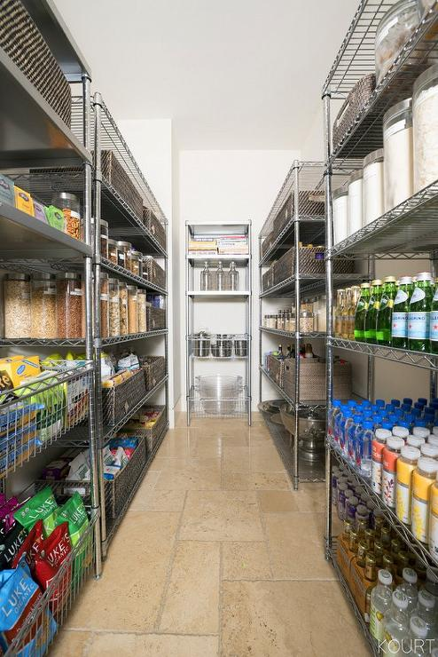 Galley Style Kitchen Pantry With Industrial Shelving