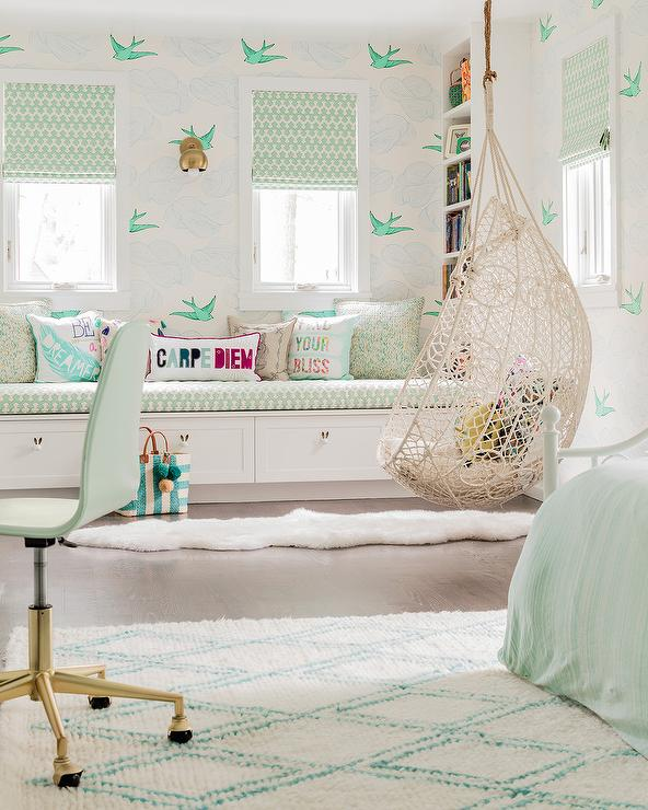 Mint Green Girl Room With Knotted Rope Hanging Chair Contemporary Girl S Room