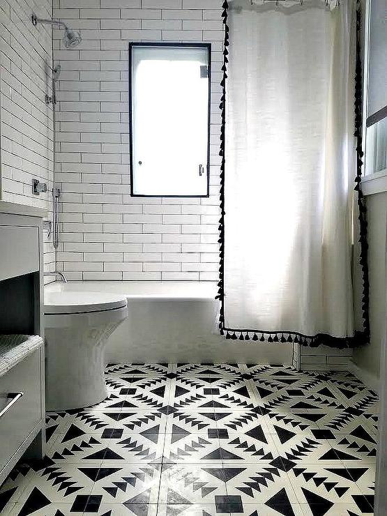 Black Tassel Shower Curtain in Black and White Bathroom